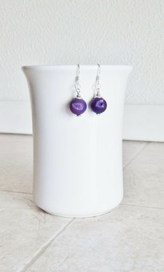 Purple Druzy earrings agate drusy skin on druzy by AJBcreations, $28.00