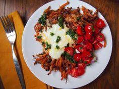 An Avocado A Day: Shredded Sweet Potatoes with Eggs, Chimichurri and Fresh Salsa