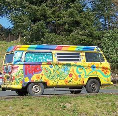 yellow painted peace bus