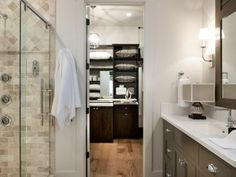 The master bathroom transitions into a walk-in closet, which boasts ample storage space for clothing and bed linens--> http://hg.tv/vb15