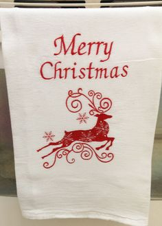 Christmas Towel, White Flour Sack Towels Embroidered Reindeer, Cafe, Bistro Hand Towels, Christmas Gift Ideas.