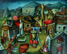 The Kraal (1948) Alexis Preller 1911-1975. Oil on canvas on cardboard. Iziko South African National Gallery