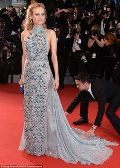Daring to bare: Diane Kruger showed some flesh Saturday at the Cannes Film Festival in a p...