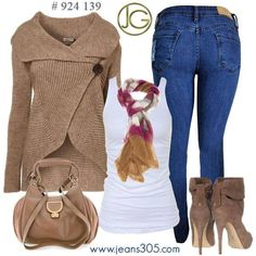 brown an jean outfit