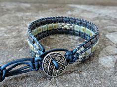 Tila bead 3 row cuff bracelet.