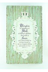"""Be Imitators of God"" Plaque. Create a personal retreat that's truly inspiring with Mardel's exclusive Crowning Glory collection! Sweet and subtle accents are mixed with positive messages of #faith, #hope and #love to add warm and welcoming touches to your #spiritual oasis. Throw in elegant embellishments and warmly weathered details, and the result is a look that's both understated and refined! #CrowningGlory   #God"