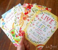 Greeting Card Set - Live The Life You've Imagined - Katie Daisy Prints