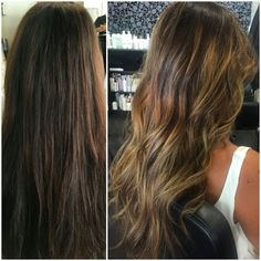 Before a de after Balayage by The Room