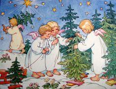 angels preparing Christmas trees