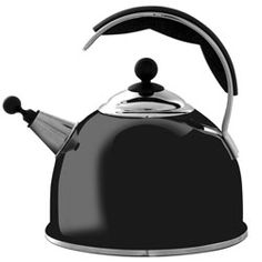AGA Gloss Black Stainless Steel Whistling Kettle - The Elf Service Cream Aga, Induction Cookware, Black Stainless Steel, Kitchen Items, Kettles, Base, Heat Transfer, Amazing, Kitchens