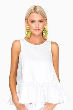 White Linen Floret Top