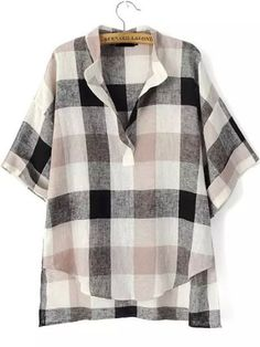 Shop Black Beige V Neck Preppy Appropriately Plaid Checkered Loose Blouse online. SheIn offers Black Beige V Neck Preppy Appropriately Plaid Checkered Loose Blouse & more to fit your fashionable needs. Black Collared Shirt, Black Plaid Shirt, Black Blouse, Plaid Shirts, White Plaid, Black Shorts, Short Sleeve Linen Shirt, Short Sleeve Collared Shirts, Short Sleeves