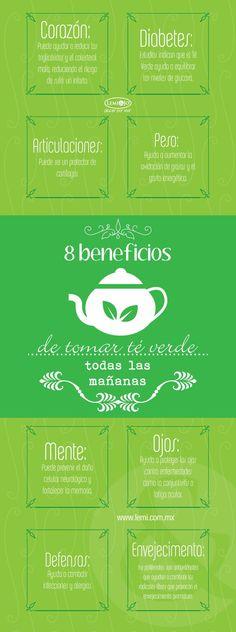 8 Beneficios de tomar té verde por las mañanas. #téverde #té #infografía