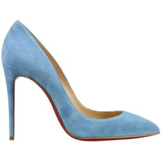 Christian Louboutin High-heeled shoes ($470) ❤ liked on Polyvore featuring shoes, sky blue, christian louboutin shoes, high heel shoes and christian louboutin