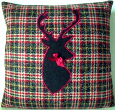 Pierre Frey Paris Wool Check Stag Silhouette Tartan Plaid Designer Cushion Throw Pillow Coussin