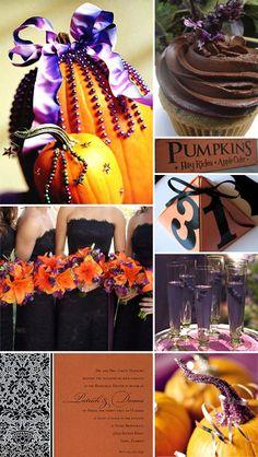 Halloween wedding theme orange black and purple bridesmaid dress pumpkin invite cupcake bat purple drink in champagne glass