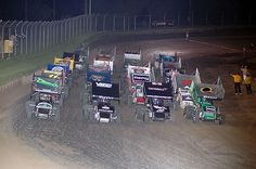 Speedway!  Midgets and Sprintcars - This photo is actually the World of Outlaws 4 wide!