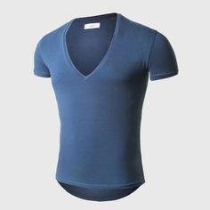 21 Colores Profunda V Cuello Camiseta de Los Hombres de Moda Muscular de la Aptitud de Compresión de Manga Corta T Camisa Masculina Verano Top Tees