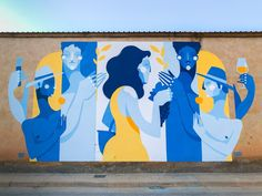 Zesar Bahamonte for Asalto in Alfamén, Spain, 2018 Murals Street Art, Graffiti Murals, Street Art Graffiti, Mural Cafe, School Murals, Wall Drawing, Mural Wall Art, Art Festival, Public Art