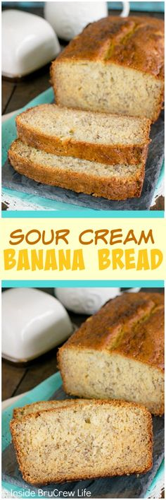 Sour Cream Banana Bread - this easy banana bread is perfect for those days when you want comfort food. Sour Cream Banana Bread - this easy banana bread is perfect for those days when you want comfort food. Banana Breakfast Recipes, Banana Bread Recipes, Fruit Recipes, Dessert Recipes, Breakfast Time, Brunch Recipes, Salad Recipes, Cake Recipes, Sour Cream Banana Bread