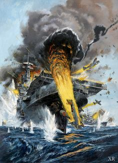 """of Midway was fought over US mid-Pacific base at Midway Atoll. Military historian called it """"the most stunning and decisive blow in the history of Naval warfare. Military Art, Military History, Poder Naval, Uss Yorktown, Naval History, Navy Ships, Aviation Art, Ship Art, Aircraft Carrier"""