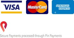 Visa, MasterCard and Amex payments are accepted. Secure payments processed through Pin Payments.