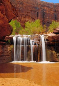 *UTAH ~ Waterfall in Coyote Gulch part of Glen Canyon National Recreation Area in Southern Utah canyon country.