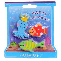 Set van 3 grappige gummen. De gummen hebben de vorm van aquarium dieren. Afmeting:ca. 4 x 2,5 cm.  - Gum - Aquarium Dieren, 3st.