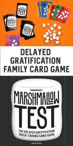 Fun family card game for family game night! Marshmallow Test is a family-friendly, delayed gratification, trick-taking card game complete with squishy marshmallow tokens!