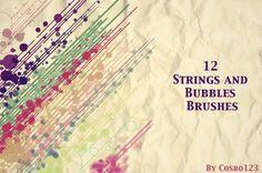 12 Strings And Bubbles Brushes - Free Photoshop Brushes | BrushKing ♛