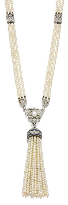 SEED PEARL, SAPPHIRE AND DIAMOND SAUTOIR, CIRCA 1910.  Designed as three rows of seed pearls highlighted at intervals with pierced square plaques, suspending an openwork pendant of tassel design set with calibré-cut sapphires, highlighted with circular- and single-cut diamonds, length approximately 770mm