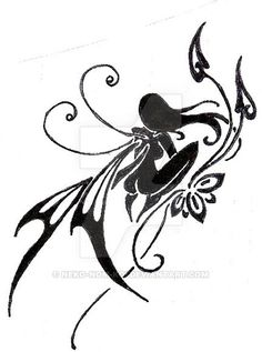 black and white tattoo designs Free Tattoo Designs, Fairy Tattoo Designs, Fairy Silhouette, Silhouette Tattoos, Doodles Zentangles, Small Angel Tattoo, Pixie Tattoo, Tribal Flower Tattoos, Images Noêl Vintages