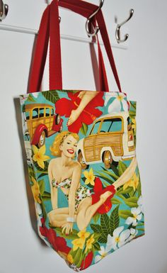 Tote Bag Pin-up Aloha from Alexander Henry Fabric, Bag with a vintage retro look and polka dot