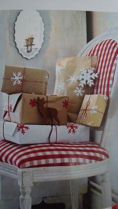 love the red and white snowflake stamps on brown and white plain paper!  ~christmas58
