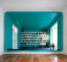 long shelves in short room, would go better w/ high ceiling