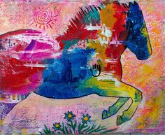 Jumping Horse Original Painting by Caren Goodrich by caren on Etsy