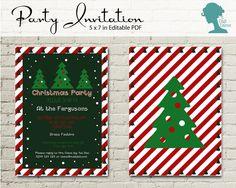 Digital Party Printable: Christmas Trees Editable Invitation by The Digi Dame Etsy Shop $10AUD digidame.etsy.com