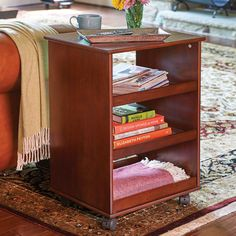 This rolling storage cart is open on both sides so you have complete access to both sides of the shelves. Great for craft room storage, small-space office storage or sit it in the living room to hold your magazines and books.