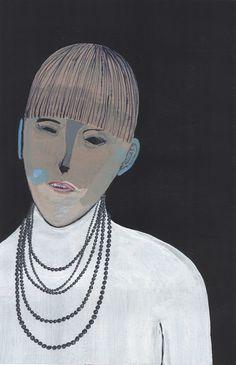 Black Pearls by Adam Norgaard. 10 x 15 in. Acrylic on paper.  #blackpearls #portrait #painting