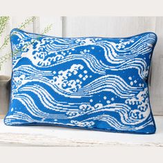 Ocean, with its elegant sense of movement, is based on a stencilled paper design used for screens and sliding doors in traditional Japanese architecture.🌊 Needlepoint Pillows, Needlepoint Kits, Ocean Canvas, Textiles Techniques, Japanese Architecture, Victoria And Albert Museum, Design Museum, Paper Design, Original Artwork