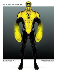 Human A-Bomb is based on a public domain character. This (copyrighted) original character concept was realized with Original: pdsh. Human A-Bomb Alien Character, Comic Character, Character Concept, Superhero Characters, Superhero Stories, Hulk Sketch, Alternative Comics, Apocalypse Art, Black Comics