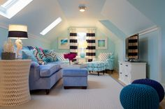 Den Ideas. dens/libraries/offices - Oly Studio Pipa Side Table, Jonathan Adler Seahorse Lamp, loft space, attic room, attic den, atti...