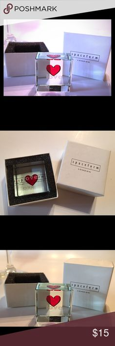 """Spaceform from the U.K. Small Love Token The perfect little something for that extra special person in your life! This little gem is from the U.K. Made by Spaceform, who specializes in glassware. New in the box. It measures 1"""" x 1"""" x .5"""" Great for Christmas 🎄🎁 Spaceform Other"""