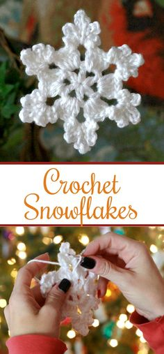 Pretty crochet snowflake is intricate and yet easy to make. Use as an ornament, … Pretty crochet snowflake is intricate and yet easy to make. Use as an ornament, gift embellishment or window decoration. Great video how-to. Crochet Christmas Decorations, Crochet Christmas Ornaments, Christmas Crochet Patterns, Snowflake Ornaments, Christmas Snowflakes, Christmas Crafts, Christmas Star, Christmas Bells, Christmas Angels