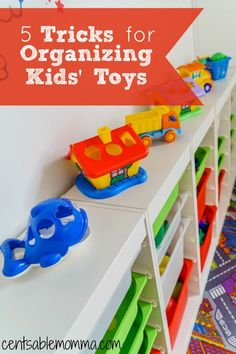 One of my pain points when my kids were younger was seeing their toys all over the place!  If you need help organizing toys in your child's bedroom or even in your living room, you'll want to check out these 5 tricks for organizing kids' toys for some tip