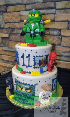 This cool Lego Ninjago birthday cake has handmade chocolate figures and Lego pieces. We iced this cake with fondant and added Ninjago images. Bolo Ninjago, Lego Ninjago Cake, Ninjago Party, Lego Birthday Party, Birthday Cakes, Birthday Wishes, Birthday Ideas, Handmade Chocolates, Little Cakes