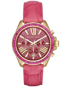 Michael Kors Women's Chronograph Wren Fuchsia Embossed Croco-Leather Strap Watch 42mm MK2449