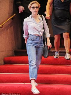 Only she can pull them off!: Scarlett Johansson wore typically unflattering 'mom jeans' in New York City on Wednesday