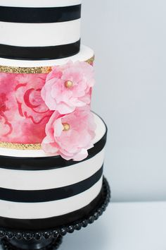 Black & White Striped Cake with Pink Detail
