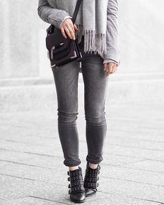 A Little Detail - Outfit Details #springfashion #suedejacket #greyskinnyjeans #studdedankleboots #mackage #womensfashion #fashion #outfit